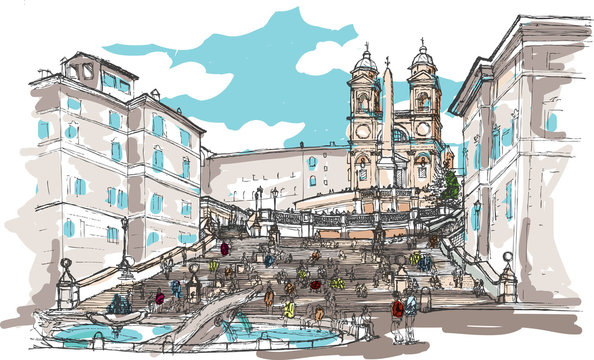 Watercolor Sketch of Spanish Steps, Rome, Italy
