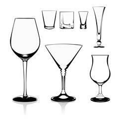 Vector illustration-glasses on white background