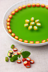 Delicious dessert made from sweet colorful jelly