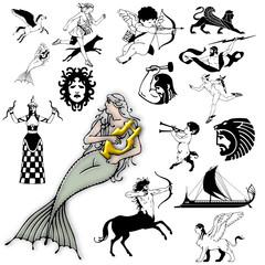 action mythology character design mermaid