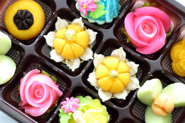 Thai desserts colorful variations.