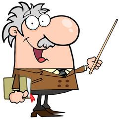 Happy Caucasian Professor Using A Pointer Stick