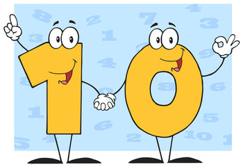 Number Ten Cartoon Character With Background