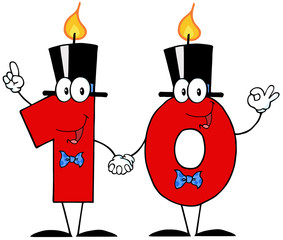 Number Ten Candles Cartoon Character