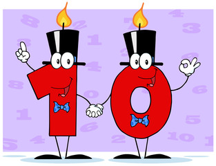 Number Ten Candles Cartoon Character With Background