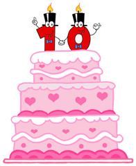 Wedding Cake Or Birthday Cake With Number Ten Candles
