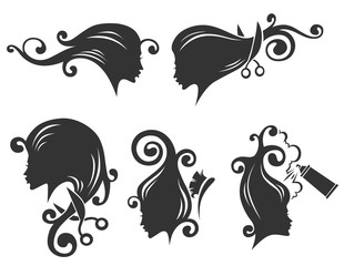vector collection of women head silhouettes