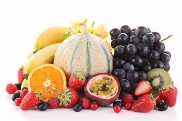 assortment of fruit on white