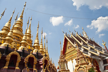 Thai temple and gold pagoda