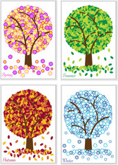 four seasons symbols,spring,summer,autumn and winter tree