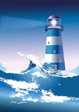 Lighthouse with breaking waves