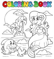 Coloring book ocean and mermaid 1