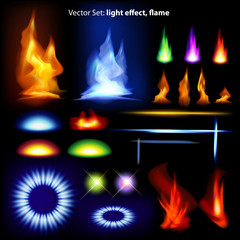 Vector set: light effect, flame