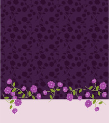 Invitation template with purple flowers pattern