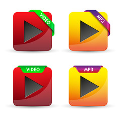 red and yellow glossy video watch button