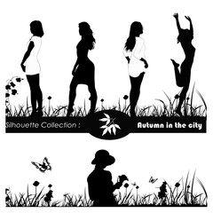 Vector illustration.Beautiful girls on meadow with butterflies