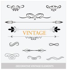 calligraphic vintage elemets and symbols set