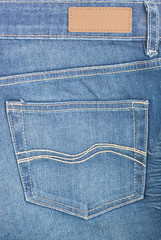 Blue denim with pocket and label