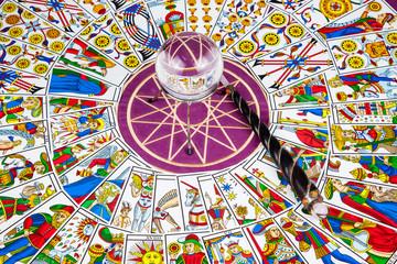 Tarot cards with a magic ball and magic wand (3).
