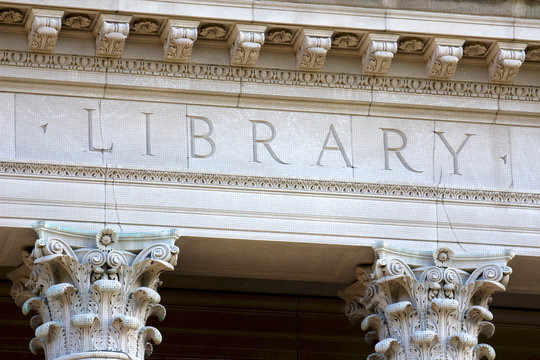 The Letters LIBRARY on a university building
