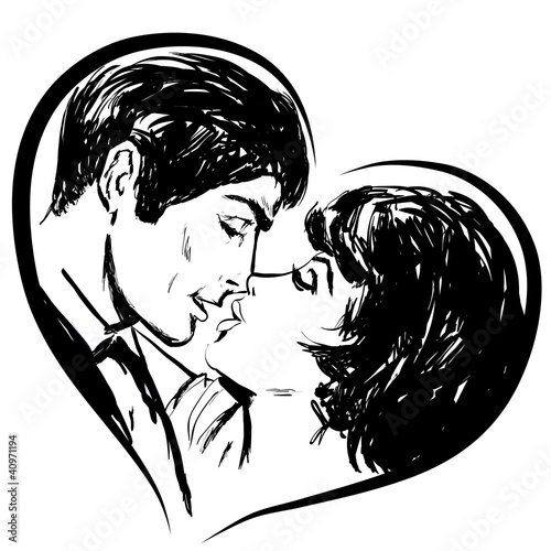 Croquis En Noir Et Blanc Couple Amoureux Baiser En Coeur Photo