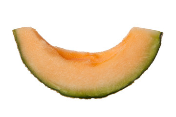 Slice of rockmelon isolated on white background