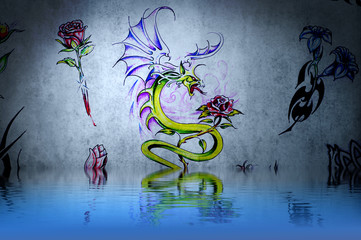 Dragon fantasy, tattoo drawing or decoration with water reflecti