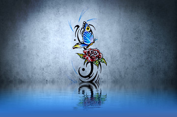Wall Mural - Rose and butterfly tribal forms tattoo over water reflection. Il
