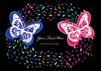 vector background with two color butterflies