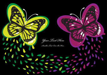 vector background with pair of butterflies