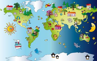 Obraz Mapa świata - fototapety do salonu