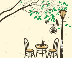 Poster de jardin Drawn Street cafe Open-air cafe under a tree with a lantern