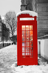 Wall Murals Red, black, white London Telephone Booth