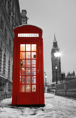 Spoed Fotobehang Rood, zwart, wit London Telephone Booth and Big Ben