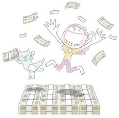 大金に喜ぶ女性と猫