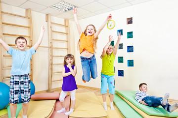 Jumping school students