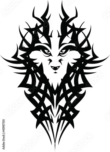 Tribal Wolf Tattoo Design Stock Photo And Royalty Free Images On