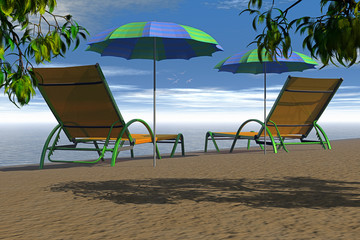 Two relax chair of beach on sand during summer.