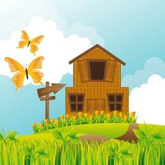 Zelfklevend Fotobehang Vlinders farm vector