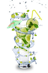 Poster Eclaboussures d eau Fresh mojito drink with splash spiral around glass
