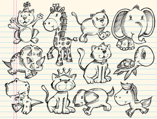Sketch Doodle Animals Vector Set
