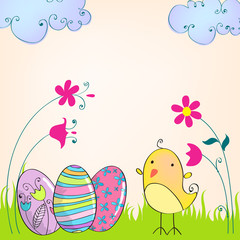 Cute Easter eggs and chicken illustration