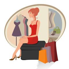 Young joyful woman with shopping bags