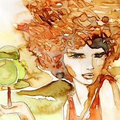 Printed kitchen splashbacks Painterly Inspiration interesujący portret