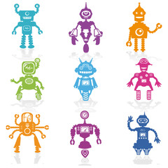 Set of Icons -Cute Little Robots Collection - in vector