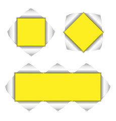 collection of yellow background with torn corners