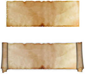 Ancient scroll of parchment and sheet of ancient parchment.