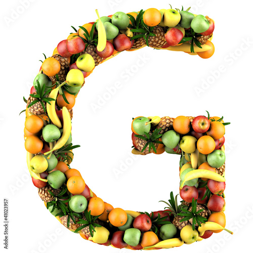 "G Made Of Fruits. Isolated On A White."" Stock"