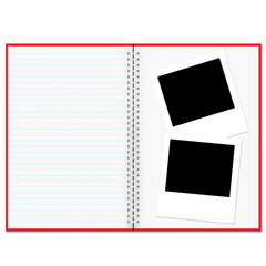 Blank notebook and photo isolated on white