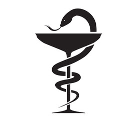 Pharmacy Icon with Caduceus Symbol